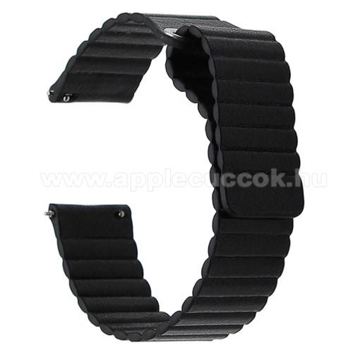 Okosóra mágneses loop szíj - FEKETE - PU bőr, mágneses - 20mm széles, 160-204 mm-es csuklóig használható - SAMSUNG Galaxy Watch 42mm / Xiaomi Amazfit GTS / SAMSUNG Gear S2 / HUAWEI Watch GT 2 42mm / Galaxy Watch Active / Active 2