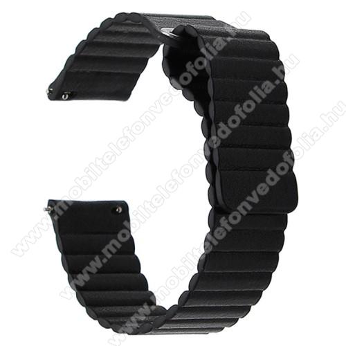 Garmin VenuOkosóra mágneses loop szíj - FEKETE - PU bőr, mágneses - 20mm széles, 160-204 mm-es csuklóig használható - SAMSUNG Galaxy Watch 42mm / Xiaomi Amazfit GTS / SAMSUNG Gear S2 / HUAWEI Watch GT 2 42mm / Galaxy Watch Active / Active 2