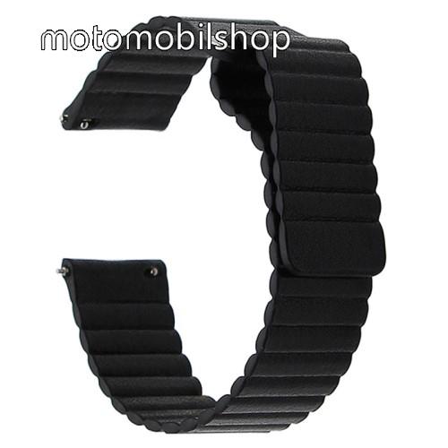 Okosóra mágneses loop szíj - FEKETE - PU bőr, mágneses - 20mm széles, 160-204 mm-es csuklóig használható - SAMSUNG Galaxy Watch 42mm / Xiaomi Amazfit GTS / HUAWEI Watch GT / SAMSUNG Gear S2 / HUAWEI Watch GT 2 42mm / Galaxy Watch Active / Active  2 / Gala