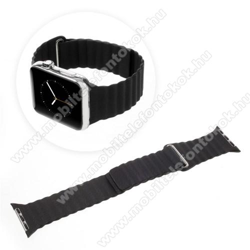 APPLE Watch Series 6 44mmOkosóra mágneses loop szíj - FEKETE - PU bőr - 185mm + 52mm hosszú - APPLE Watch Series 3/2/1 42mm / APPLE Watch Series 4 44mm / APPLE Watch Series 5 44mm