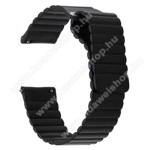 Okosóra mágneses loop szíj - FEKETE - valódi bőr - 220mm hosszú, 20mm széles - SAMSUNG Galaxy Watch 42mm / Xiaomi Amazfit GTS / HUAWEI Watch GT / SAMSUNG Gear S2 / HUAWEI Watch GT 2 42mm / Galaxy Watch Active / Active 2