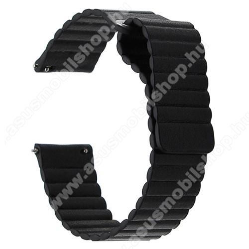 Okosóra mágneses loop szíj - FEKETE - valódi bőr - 220mm hosszú, 22mm széles - HUAWEI Watch GT / SAMSUNG Galaxy Watch 46mm / SAMSUNG Gear S3 Classic / SAMSUNG Gear S3 Frontier
