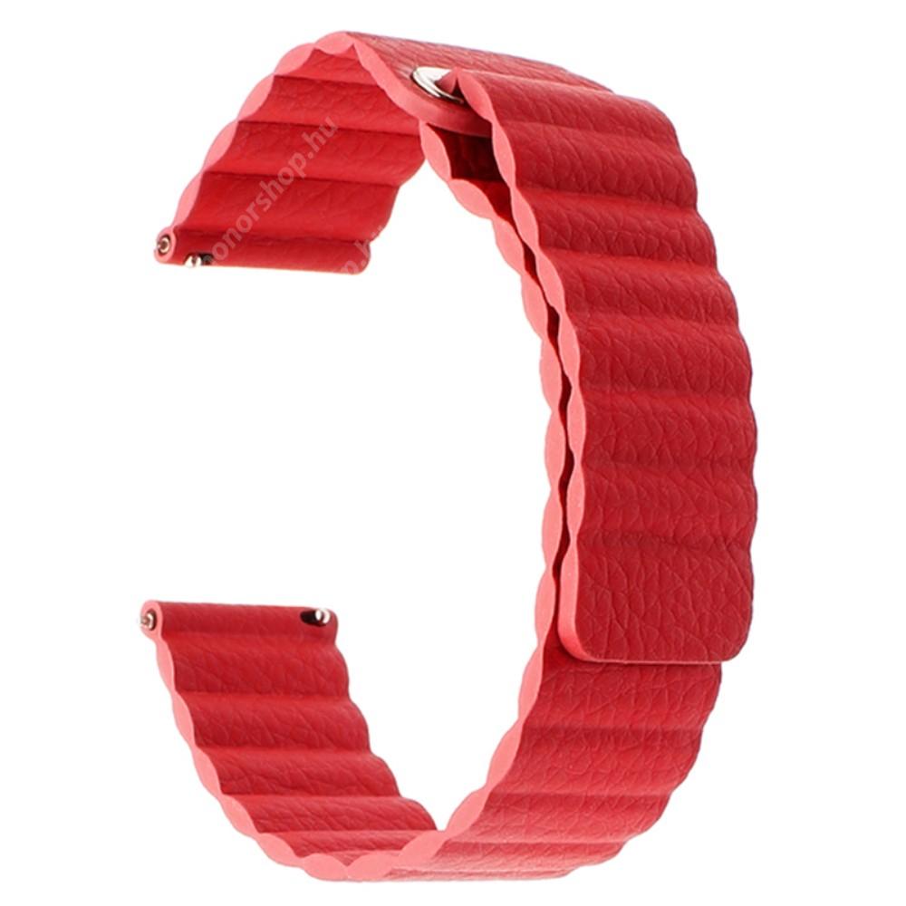 Okosóra mágneses loop szíj - PIROS - valódi bőr - 220mm hosszú, 20mm széles - SAMSUNG Galaxy Watch 42mm / Xiaomi Amazfit GTS / HUAWEI Watch GT / SAMSUNG Gear S2 / HUAWEI Watch GT 2 42mm / Galaxy Watch Active / Active 2