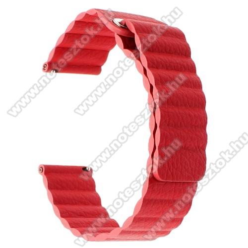 HUAWEI Honor MagicWatch 2 46mmOkosóra mágneses loop szíj - PIROS - valódi bőr - 220mm hosszú, 22mm széles - HUAWEI Watch GT / SAMSUNG Galaxy Watch 46mm / SAMSUNG Gear S3 Classic / SAMSUNG Gear S3 Frontier