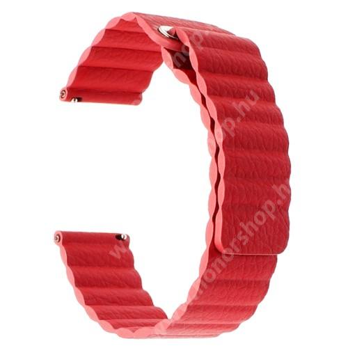 Okosóra mágneses loop szíj - PIROS - valódi bőr - 220mm hosszú, 22mm széles - HUAWEI Watch GT / SAMSUNG Galaxy Watch 46mm / SAMSUNG Gear S3 Classic / SAMSUNG Gear S3 Frontier