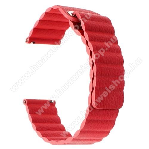 HUAWEI Watch GT 2 46mmOkosóra mágneses loop szíj - PIROS - valódi bőr - 220mm hosszú, 22mm széles - HUAWEI Watch GT / SAMSUNG Galaxy Watch 46mm / SAMSUNG Gear S3 Classic / SAMSUNG Gear S3 Frontier