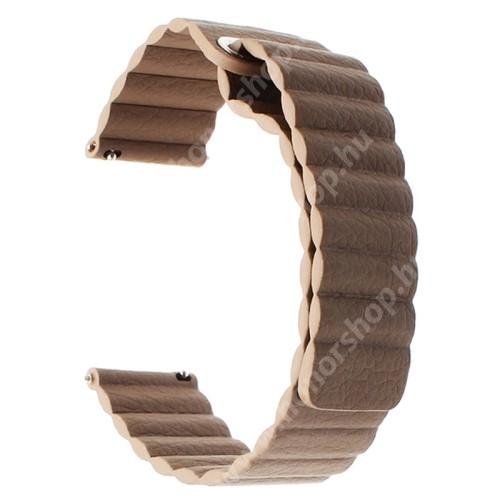Okosóra mágneses loop szíj - SÖTÉTBARNA - valódi bőr - 220mm hosszú, 20mm széles - SAMSUNG Galaxy Watch 42mm / Xiaomi Amazfit GTS / HUAWEI Watch GT / SAMSUNG Gear S2 / HUAWEI Watch GT 2 42mm / Galaxy Watch Active / Active 2