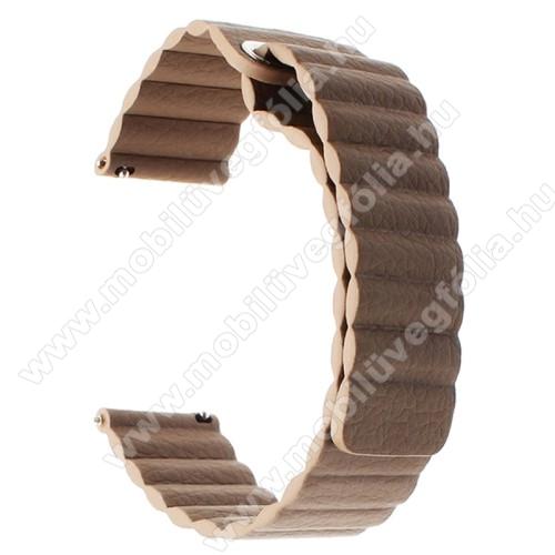 HUAWEI Honor MagicWatch 2 46mmOkosóra mágneses loop szíj - SÖTÉTBARNA - valódi bőr - 220mm hosszú, 22mm széles - HUAWEI Watch GT / SAMSUNG Galaxy Watch 46mm / SAMSUNG Gear S3 Classic / SAMSUNG Gear S3 Frontier