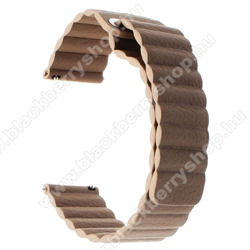 Okosóra mágneses loop szíj - SÖTÉTBARNA - valódi bőr - 220mm hosszú, 22mm széles - HUAWEI Watch GT / SAMSUNG Galaxy Watch 46mm / SAMSUNG Gear S3 Classic / SAMSUNG Gear S3 Frontier
