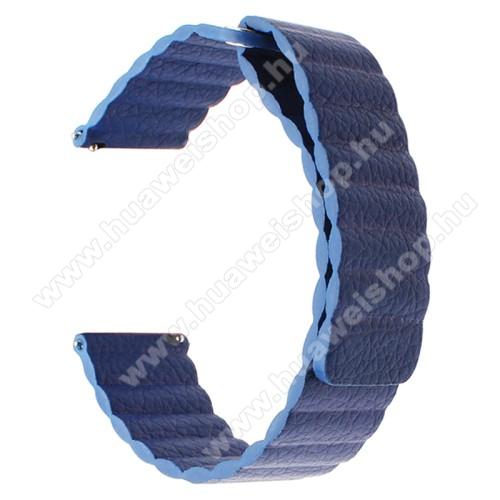 Okosóra mágneses loop szíj - SÖTÉTKÉK - valódi bőr - 220mm hosszú, 22mm széles - HUAWEI Watch GT / SAMSUNG Galaxy Watch 46mm / SAMSUNG Gear S3 Classic / SAMSUNG Gear S3 Frontier