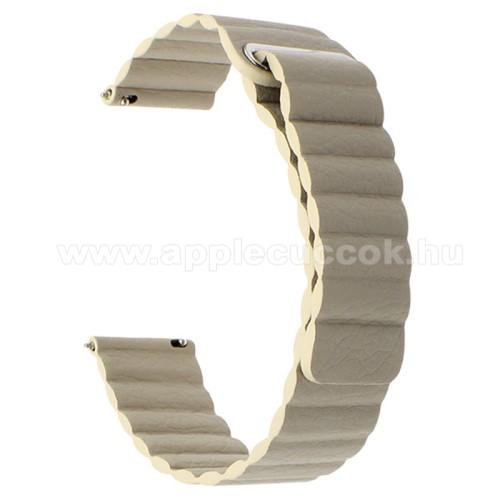 Okosóra mágneses loop szíj - VILÁGOSBARNA - valódi bőr - 220mm hosszú, 22mm széles - HUAWEI Watch GT / SAMSUNG Galaxy Watch 46mm / SAMSUNG Gear S3 Classic / SAMSUNG Gear S3 Frontier