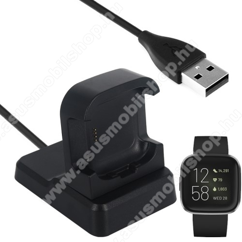 Okosóra mágneses USB töltő / dokkoló - FEKETE - Fitbit Versa 2