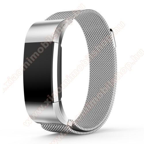 Okosóra milánói szíj - rozsdamentes acél, mágneses - EZÜST - S méret, 205mm hosszú, 17mm széles - Fitbit Charge 2