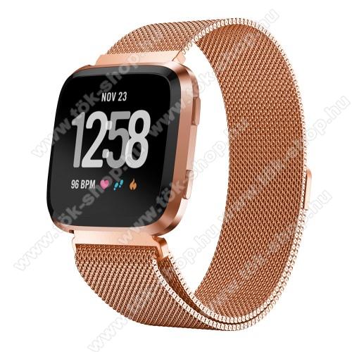 Okosóra milánói szíj - rozsdamentes acél, mágneses - ROSE GOLD - 225mm hosszú, 22.5mm széles - Fitbit Versa / Fitbit Versa Lite / Fitbit Versa 2