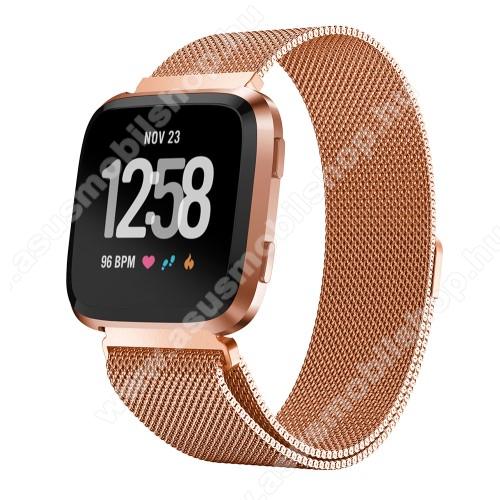Okosóra milánói szíj - rozsdamentes acél, mágneses - ROSE GOLD - 225mm hosszú, 23mm széles - Fitbit Versa / Fitbit Versa Lite / Fitbit Versa 2