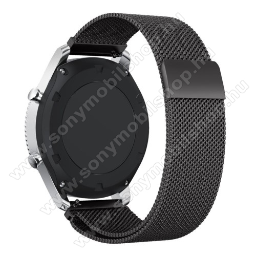 Okosóra milánói szíj - rozsdamentes acél - FEKETE - fém háló kialakítás, 250mm hosszú, 22mm széles - SAMSUNG Galaxy Watch 46mm / SAMSUNG Gear S3 Classic / SAMSUNG Gear S3 Frontier
