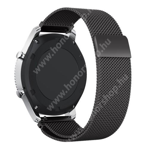 HUAWEI Watch GT 2 Pro 46mm Okosóra milánói szíj - rozsdamentes acél - FEKETE - fém háló kialakítás, 250mm hosszú, 22mm széles - SAMSUNG Galaxy Watch 46mm / SAMSUNG Gear S3 Classic / SAMSUNG Gear S3 Frontier