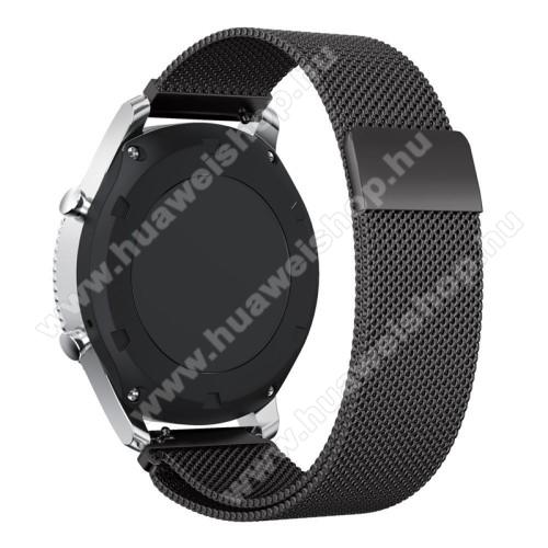 Okosóra milánói szíj - rozsdamentes acél - FEKETE - fém háló kialakítás, 250mm hosszú, 22mm széles - SAMSUNG Galaxy Watch 46mm / SAMSUNG Gear S3 Classic / SAMSUNG Gear S3 Frontier