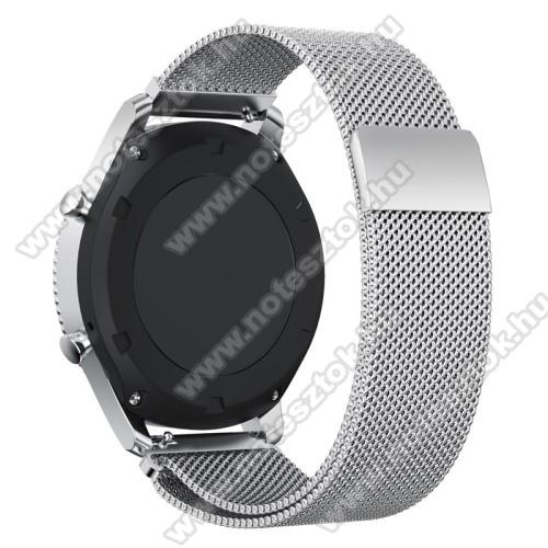HUAWEI Honor MagicWatch 2 46mmOkosóra milánói szíj - rozsdamentes acél - EZÜST - fém háló kialakítás, mágneses - 250mm hosszú, 22mm széles - SAMSUNG Galaxy Watch 46mm / SAMSUNG Gear S3 Classic / SAMSUNG Gear S3 Frontier