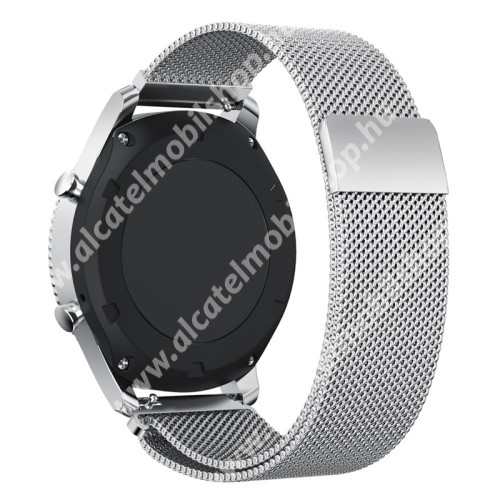 Okosóra milánói szíj - rozsdamentes acél - EZÜST - fém háló kialakítás, mágneses - 250mm hosszú, 22mm széles - SAMSUNG Galaxy Watch 46mm / SAMSUNG Gear S3 Classic / SAMSUNG Gear S3 Frontier