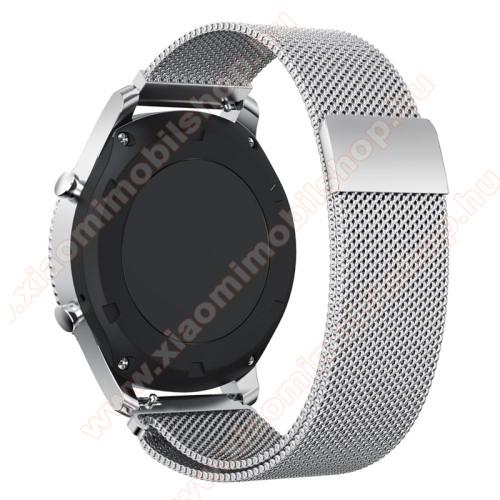 Xiaomi Amazfit 2Okosóra milánói szíj - rozsdamentes acél - EZÜST - fém háló kialakítás, mágneses - 250mm hosszú, 22mm széles - SAMSUNG Galaxy Watch 46mm / SAMSUNG Gear S3 Classic / SAMSUNG Gear S3 Frontier