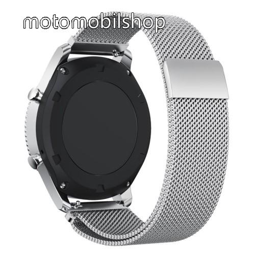 Okosóra milánói szíj - rozsdamentes acél - EZÜST - fém háló kialakítás, mágneses - 250mm hosszú, 22mm széles - SAMSUNG Galaxy Watch 46mm / SAMSUNG Gear S3 Classic / SAMSUNG Gear S3 Frontier