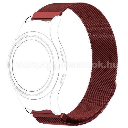 Okosóra milánói szíj - rozsdamentes acél - PIROS - fém háló kialakítás, mágneses, 245mm hosszú, 20mm széles - SAMSUNG Gear Fit 2 SM-R360 / SAMSUNG Gear Fit 2 Pro SM-R365
