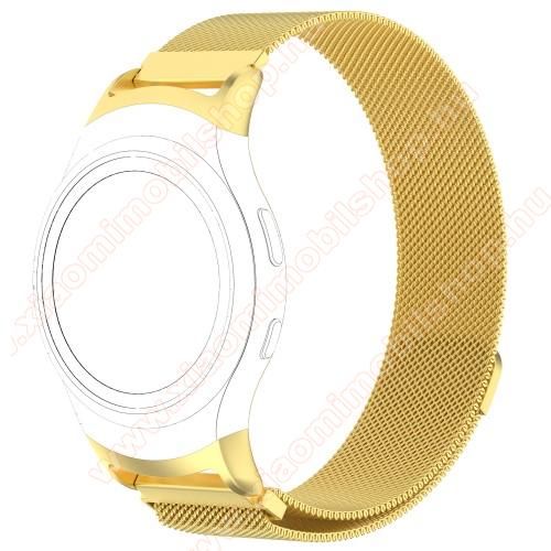 Okosóra milánói szíj - rozsdamentes acél - ARANY - fém háló kialakítás, mágneses, 245mm hosszú, 20mm széles - SAMSUNG Gear Fit 2 SM-R360 / SAMSUNG Gear Fit 2 Pro SM-R365