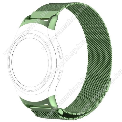 SAMSUNG SM-R360 Gear Fit 2Okosóra milánói szíj - rozsdamentes acél - ZÖLD - fém háló kialakítás, mágneses, 245mm hosszú, 20mm széles - SAMSUNG Gear Fit 2 SM-R360 / SAMSUNG Gear Fit 2 Pro SM-R365