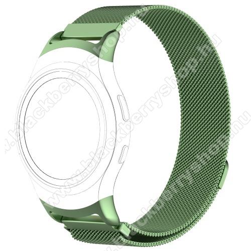 Okosóra milánói szíj - rozsdamentes acél - ZÖLD - fém háló kialakítás, mágneses, 245mm hosszú, 20mm széles - SAMSUNG Gear Fit 2 SM-R360 / SAMSUNG Gear Fit 2 Pro SM-R365