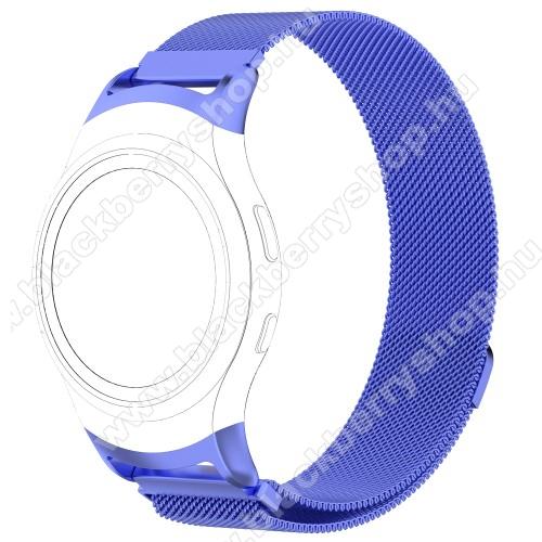 Okosóra milánói szíj - rozsdamentes acél - KÉK - fém háló kialakítás, mágneses, 245mm hosszú, 20mm széles - SAMSUNG Gear Fit 2 SM-R360 / SAMSUNG Gear Fit 2 Pro SM-R365