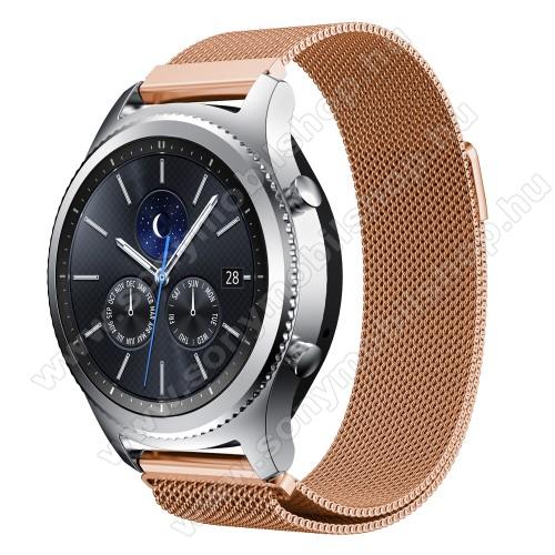 Okosóra milánói szíj - rozsdamentes acél - ROSE GOLD - fém háló kialakítás, mágneses - 215mm hosszú, 22mm széles - SAMSUNG Galaxy Watch 46mm / SAMSUNG Gear S3 Classic / SAMSUNG Gear S3 Frontier