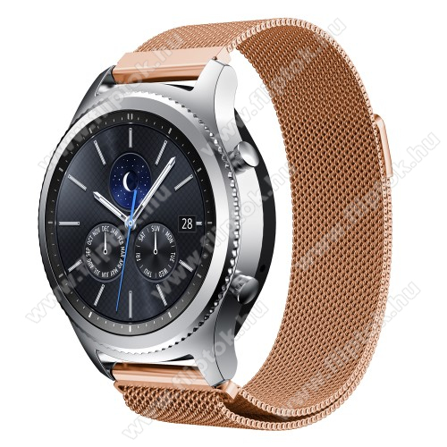 ZTE Watch GTOkosóra milánói szíj - rozsdamentes acél - ROSE GOLD - fém háló kialakítás, mágneses - 215mm hosszú, 22mm széles - SAMSUNG Galaxy Watch 46mm / SAMSUNG Gear S3 Classic / SAMSUNG Gear S3 Frontier