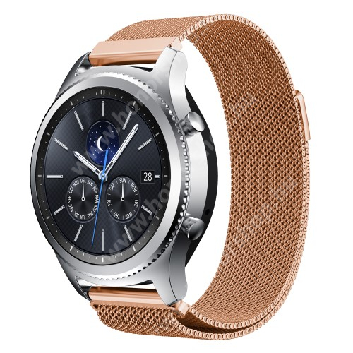 HUAWEI Watch GT 2e Okosóra milánói szíj - rozsdamentes acél - ROSE GOLD - fém háló kialakítás, mágneses - 215mm hosszú, 22mm széles - SAMSUNG Galaxy Watch 46mm / SAMSUNG Gear S3 Classic / SAMSUNG Gear S3 Frontier