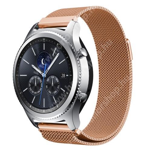 HUAWEI Watch GT 2 Pro 46mm Okosóra milánói szíj - rozsdamentes acél - ROSE GOLD - fém háló kialakítás, mágneses - 215mm hosszú, 22mm széles - SAMSUNG Galaxy Watch 46mm / SAMSUNG Gear S3 Classic / SAMSUNG Gear S3 Frontier