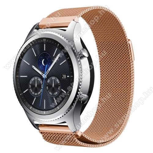SAMSUNG SM-R380 Gear 2Okosóra milánói szíj - rozsdamentes acél - ROSE GOLD - fém háló kialakítás, mágneses - 215mm hosszú, 22mm széles - SAMSUNG Galaxy Watch 46mm / SAMSUNG Gear S3 Classic / SAMSUNG Gear S3 Frontier