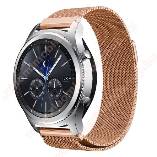 Xiaomi Amazfit Stratos 3Okosóra milánói szíj - rozsdamentes acél - ROSE GOLD - fém háló kialakítás, mágneses - 215mm hosszú, 22mm széles - SAMSUNG Galaxy Watch 46mm / SAMSUNG Gear S3 Classic / SAMSUNG Gear S3 Frontier