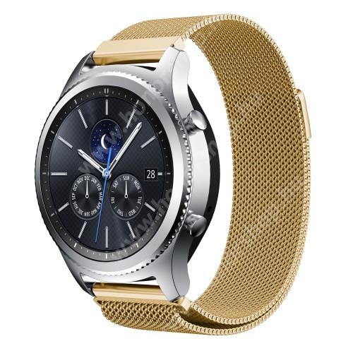 HUAWEI Watch GT 46mm Okosóra milánói szíj - rozsdamentes acél - ARANY - fém háló kialakítás, mágneses - 215mm hosszú, 22mm széles - SAMSUNG Galaxy Watch 46mm / SAMSUNG Gear S3 Classic / SAMSUNG Gear S3 Frontier