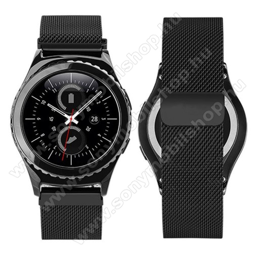 Okosóra milánói szíj - rozsdamentes acél, mágneses - FEKETE - 205mm hosszú, 20mm széles - SAMSUNG Galaxy Watch 42mm / Xiaomi Amazfit GTS / SAMSUNG Gear S2 / HUAWEI Watch GT 2 42mm / Galaxy Watch Active / Active 2