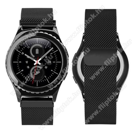 EVOLVEO SPORTWATCH M1SOkosóra milánói szíj - rozsdamentes acél, mágneses - FEKETE - 205mm hosszú, 20mm széles - SAMSUNG Galaxy Watch 42mm / Xiaomi Amazfit GTS / SAMSUNG Gear S2 / HUAWEI Watch GT 2 42mm / Galaxy Watch Active / Active 2