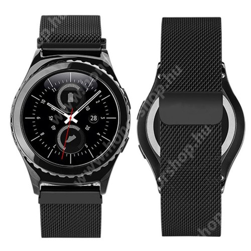 HUAWEI Honor MagicWatch 2 42mm Okosóra milánói szíj - rozsdamentes acél, mágneses - FEKETE - 205mm hosszú, 20mm széles - SAMSUNG Galaxy Watch 42mm / Xiaomi Amazfit GTS / SAMSUNG Gear S2 / HUAWEI Watch GT 2 42mm / Galaxy Watch Active / Active 2