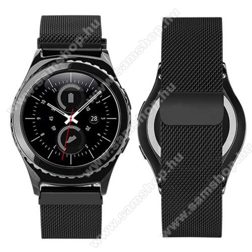 Okosóra milánói szíj - rozsdamentes acél, mágneses - FEKETE - 205mm hosszú, 20mm széles - SAMSUNG Galaxy Watch 42mm / Xiaomi Amazfit GTS / SAMSUNG Gear S2 / HUAWEI Watch GT 2 42mm / Galaxy Watch Active / Active 2