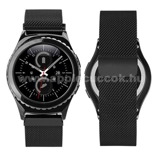 Okosóra milánói szíj - rozsdamentes acél, mágneses - FEKETE - 205mm hosszú, 20mm széles - HUAWEI Watch 2 / SAMSUNG Galaxy Watch 42mm / Xiaomi Amazfit GTS / HUAWEI Watch GT / SAMSUNG Gear S2 / HUAWEI Watch GT 2 42mm / Galaxy Watch Active / Active  2 / Gala