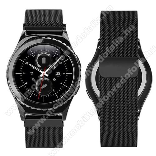 Xiaomi 70mai SaphirOkosóra milánói szíj - rozsdamentes acél, mágneses - FEKETE - 205mm hosszú, 20mm széles - SAMSUNG Galaxy Watch 42mm / Xiaomi Amazfit GTS / SAMSUNG Gear S2 / HUAWEI Watch GT 2 42mm / Galaxy Watch Active / Active 2