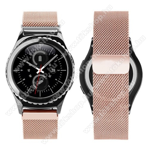 Okosóra milánói szíj - rozsdamentes acél, mágneses - ROSE GOLD - 205mm hosszú, 20mm széles - SAMSUNG Galaxy Watch 42mm / Xiaomi Amazfit GTS / SAMSUNG Gear S2 / HUAWEI Watch GT 2 42mm / Galaxy Watch Active / Active 2