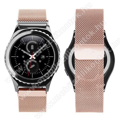 Okosóra milánói szíj - rozsdamentes acél, mágneses - ROSE GOLD - 205mm hosszú, 20mm széles - SAMSUNG Galaxy Watch 42mm / Xiaomi Amazfit GTS / SAMSUNG Gear S2 / HUAWEI Watch GT 2 42mm / Galaxy Watch Active / Active 2