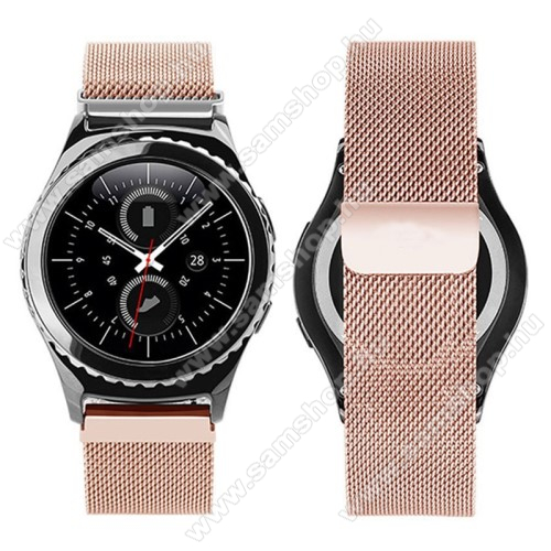 SAMSUNG Galaxy Watch Active2 40mm Okosóra milánói szíj - rozsdamentes acél, mágneses - ROSE GOLD - 205mm hosszú, 20mm széles - SAMSUNG Galaxy Watch 42mm / Xiaomi Amazfit GTS / SAMSUNG Gear S2 / HUAWEI Watch GT 2 42mm / Galaxy Watch Active / Active 2