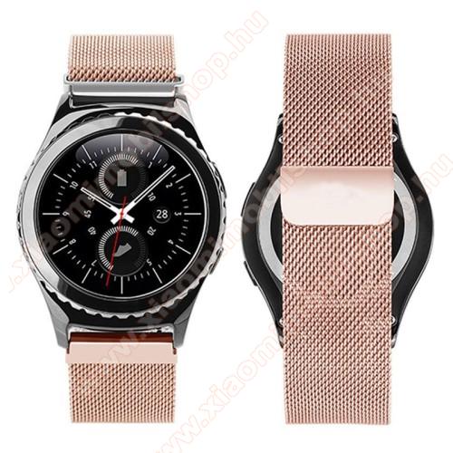 Xiaomi Amazfit BipOkosóra milánói szíj - rozsdamentes acél, mágneses - ROSE GOLD - 205mm hosszú, 20mm széles - SAMSUNG Galaxy Watch 42mm / Xiaomi Amazfit GTS / SAMSUNG Gear S2 / HUAWEI Watch GT 2 42mm / Galaxy Watch Active / Active 2