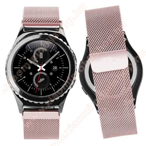 Okosóra milánói szíj - rozsdamentes acél, mágneses - RÓZSASZÍN - 205mm hosszú, 20mm széles - SAMSUNG Galaxy Watch 42mm / Xiaomi Amazfit GTS / SAMSUNG Gear S2 / HUAWEI Watch GT 2 42mm / Galaxy Watch Active / Active 2