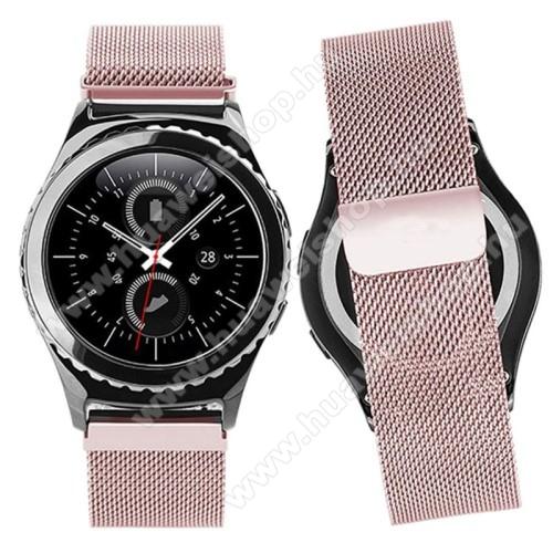 HUAWEI Honor MagicWatch 2 42mmOkosóra milánói szíj - rozsdamentes acél, mágneses - RÓZSASZÍN - 205mm hosszú, 20mm széles - SAMSUNG Galaxy Watch 42mm / Xiaomi Amazfit GTS / SAMSUNG Gear S2 / HUAWEI Watch GT 2 42mm / Galaxy Watch Active / Active 2